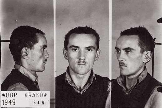 """Zdjęcie sygnalityczne. WUBP Kraków. II poł. 1949. Stanisław Ludzia ps. """"Harnaś""""."""